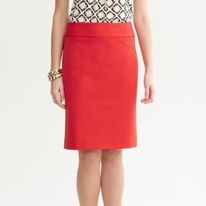 Banana Republic Orange Red Stretchy Pencil Skirt